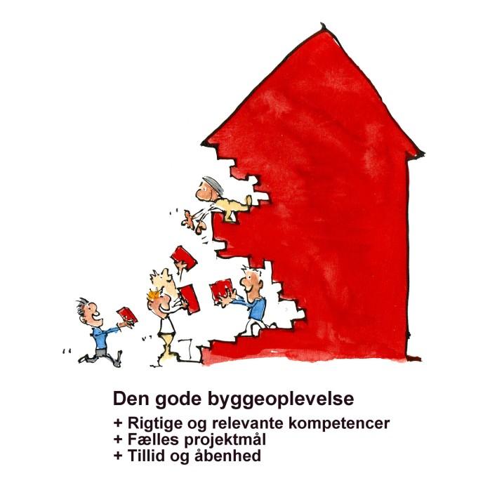 mennesker der bygger rødt hus sammen - illustration af Frits Ahlefeldt