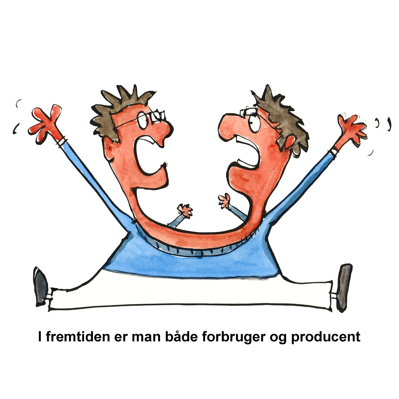 tegning af mand med to hoveder - illustration af Frits Ahlefeldt