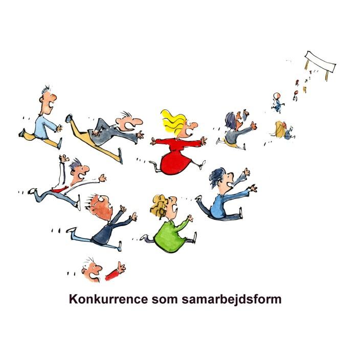 mennesker der løber om kap mod mål - illustration af Frits Ahlefeldt
