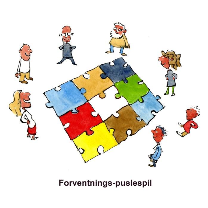 Tegning af mennesker omkring et puslespil - illustration af Frits Ahlefeldt