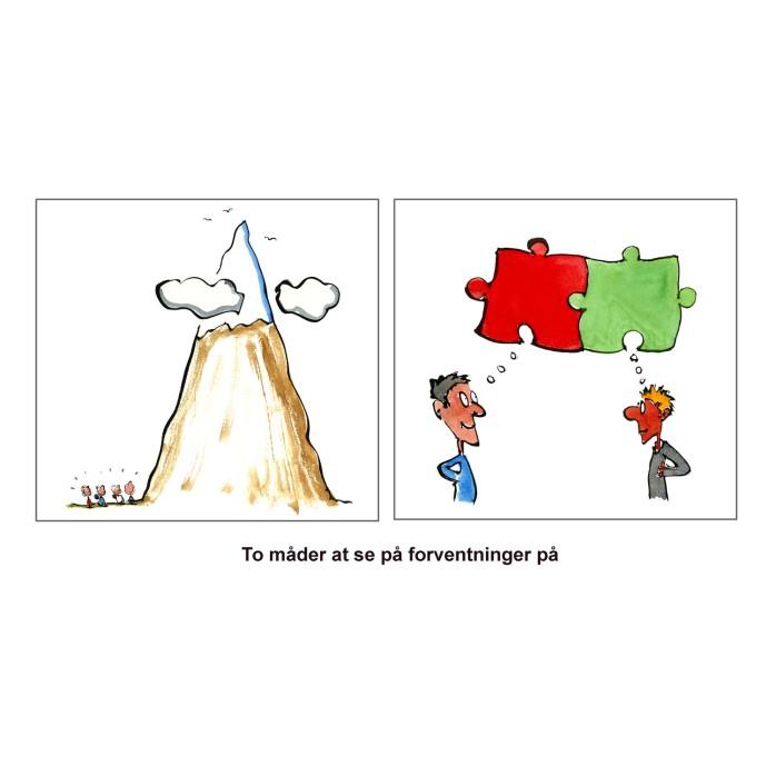 tegning af nogle der tænker bjergtop og nogle der tænker puslespil - illustration af Frits Ahlefeldt