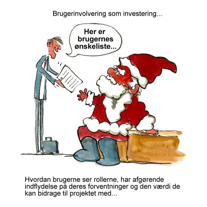 Tegning af en mand der giver julemanden brugernes ønsker - illustration af Frits Ahlefeldt