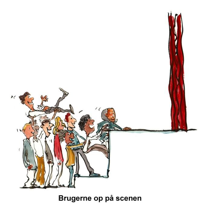 brugere der løfter en op på scenen - illustration af Frits Ahlefeldt