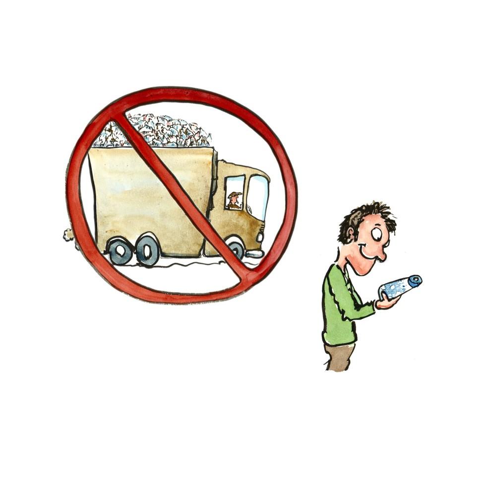 mand med genbrugelig vandflaske illustration af Frits Ahlefeldt