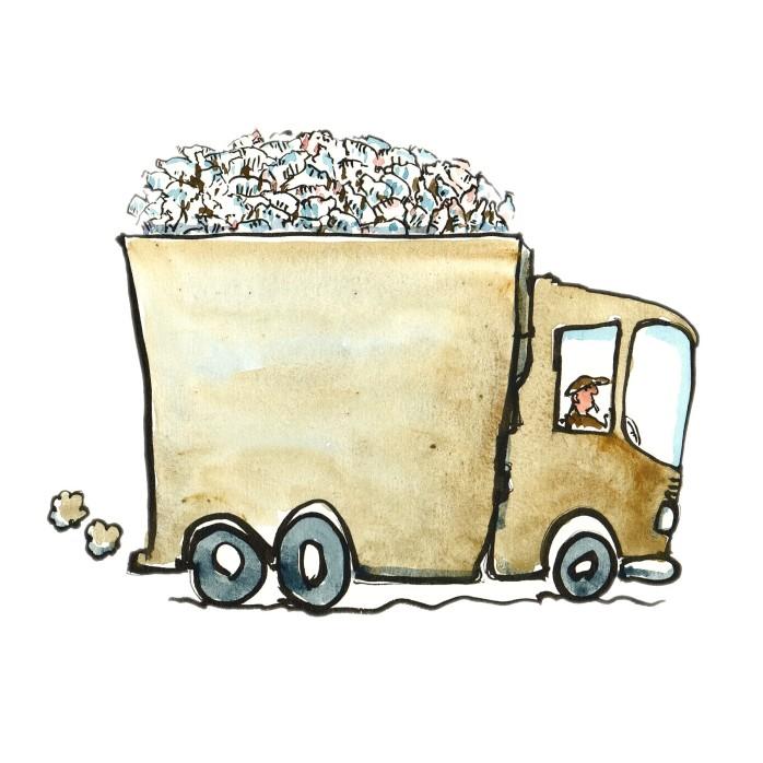 tegning af lastbil med engangsvandflasker illustration af Frits Ahlefeldt