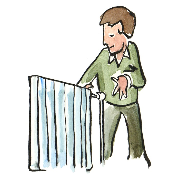 mand og radiator illustration af Frits Ahlefeldt