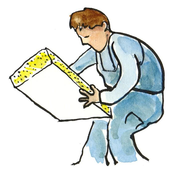 mand med isolering illustration af Frits Ahlefeldt