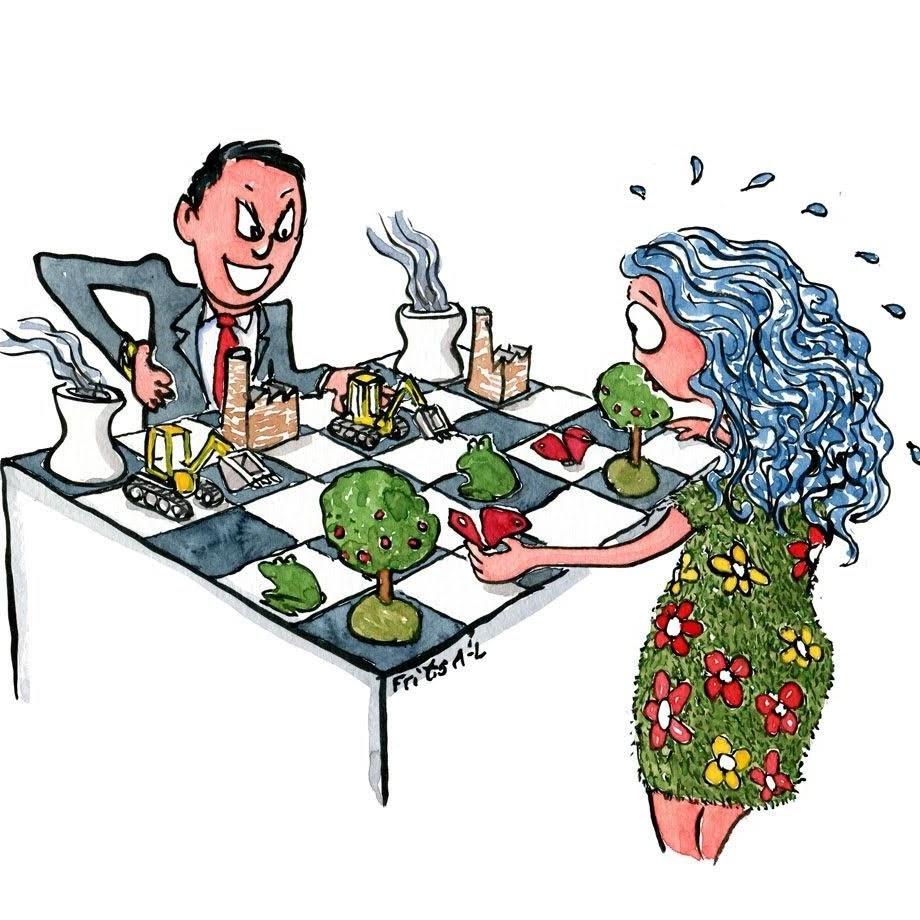 Tegning af forretningsmand som spiller resource skak med Moder Jord. Illustration af Frits Ahlefeldt