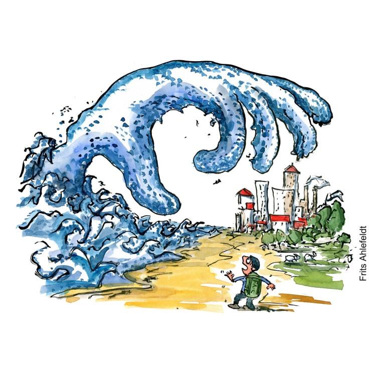 Tegning af en hånd som kommer ud af havet og griber mod en by, mens en vandrer ser på. Illustration af Frits ahlefeldt