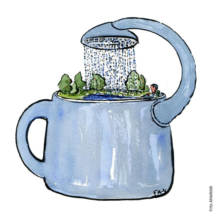 Vandkande som vander sig selv. Tegning af Frits Ahlefeldt