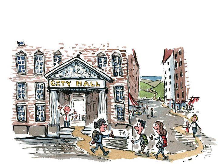 Mennesker som går igennem en by. Illustration af Frits Ahlefeldt