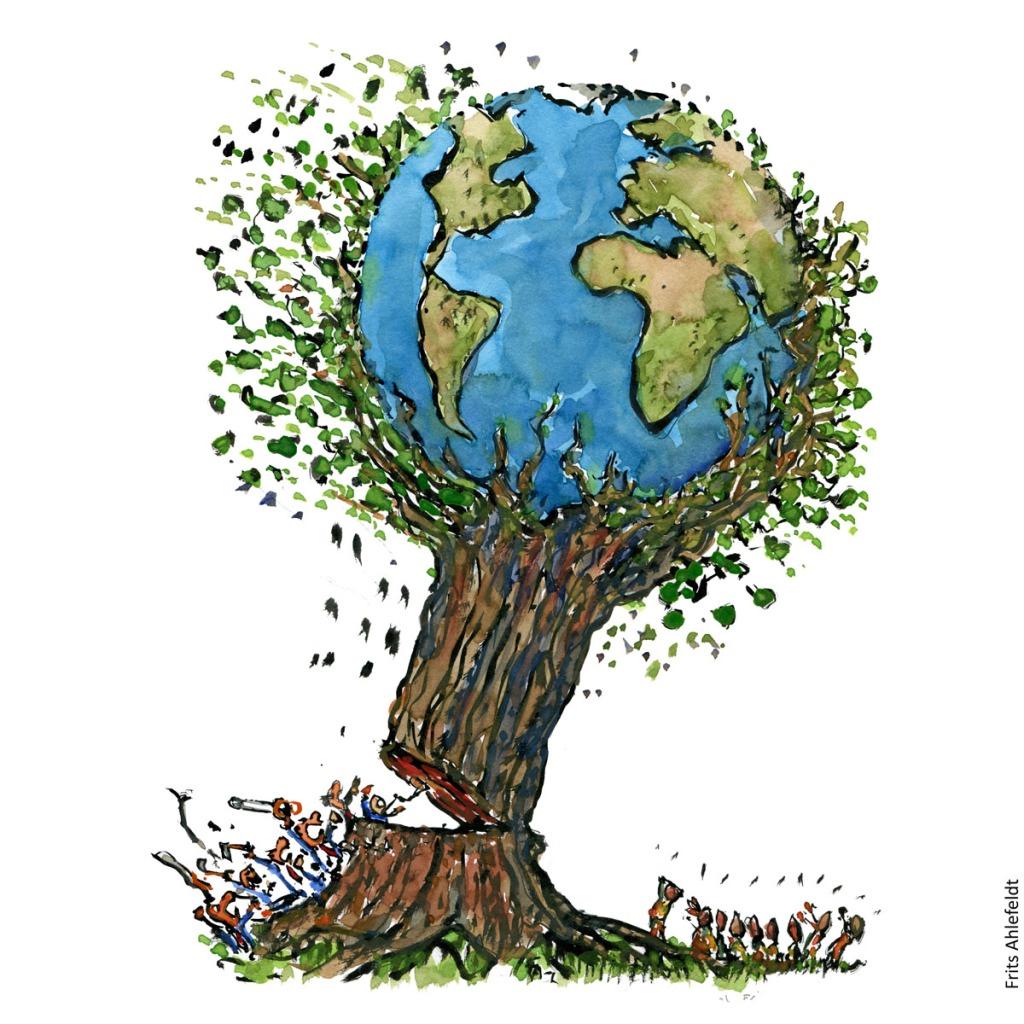 Tegning af jordklode i træ, der bliver fældet af mennesker, mens andre kigger på.