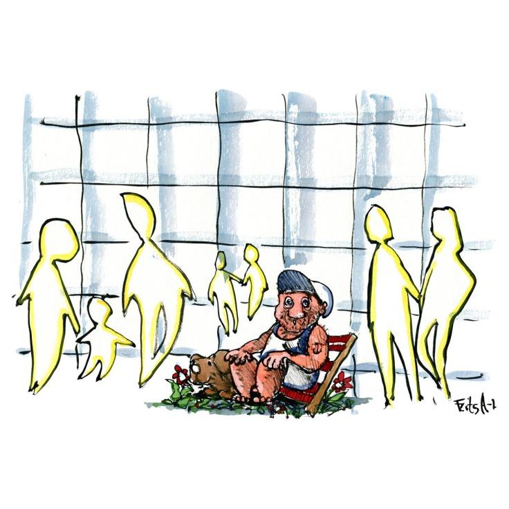 Tegning af mand som sidder midt i arkitektur og ser blank ud. Illustration af Frits Ahlefeldt
