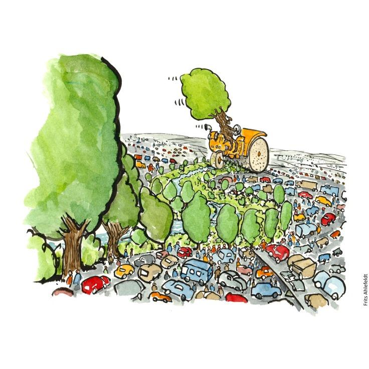 Et træ på en damptromle, der planter en grøn korridor  mellem biler. Tegning af Frits Ahlefeldt