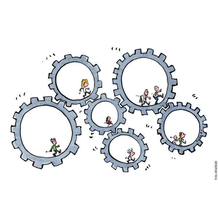 mennesker der går inde i hvert sit tandhjul, som hænger sammen. Illustration af Frits Ahlefeldt