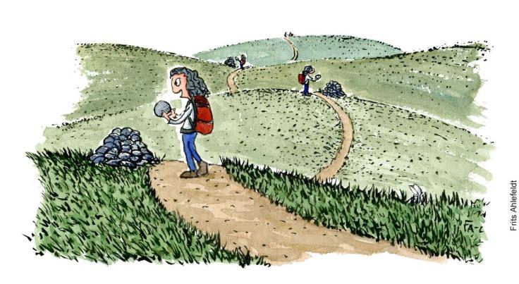 Tegning af vandrer som lægger sten ovenpå andre sten, til en varde på vandresti. Illustration af Frits Ahlefeldt