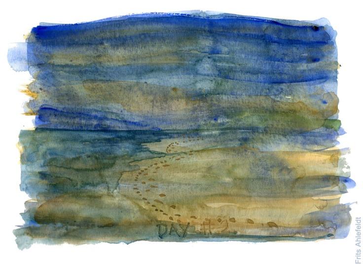 Akvarel af en kyst med fodspor. Akvarel af Frits Ahlefeldt