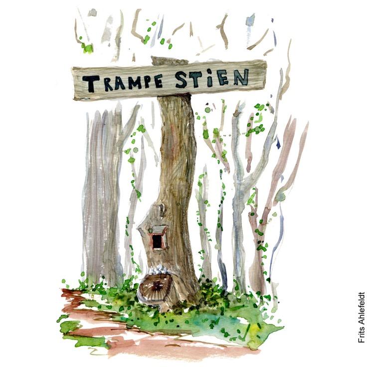 """Akvarel af et skilt hvor der står """"trampestien"""" på. Akvarel af Frits Ahlefeldt"""